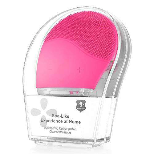 Limpiador facial sónico, cepillo facial de silicona para limpieza y masaje, antienvejecimiento y reductor del acné. (Rosado)