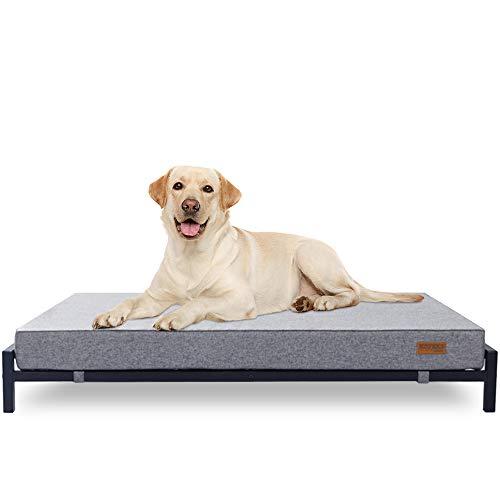 KOPEKS Letto rialzato con materasso per cani e animali domestici, taglia XL, colore: grigio e nero