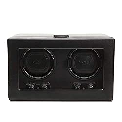 powerful WOLF 270102 Heritage Double Watch Winder, with cover, black