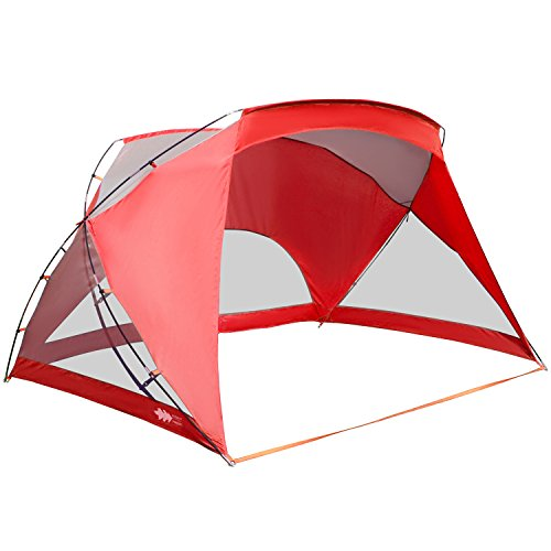 ALPHA CAMP 3 Person Sports/Beach Shelter Easy Up Sun Shade - 9' x 6' Red