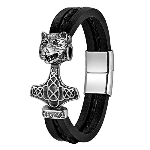 NICEWL Hombres de Acero Inoxidable Viking Wolf Head Thor's Hammer Amuleto Brazaletes,Unisex Fenrir Mjolnir Pulsera Trenzada de Cuero Vintage Joyería Escandinava,Style a