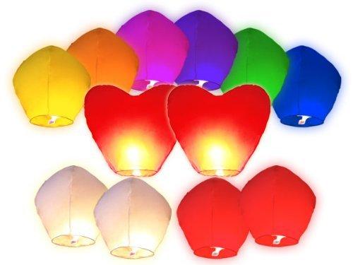 Juego de 12 linternas de 2 corazones China celestes volantes biodegradable para fiestas, momentos cm, diseño de rosas