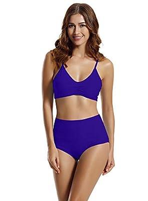 zeraca Women's Strap Side Bottom Halter Racerback Bikini Bathing Suits (FBA) Red