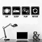 Jugador comer dormir jugar juego jugador juego vinilo etiqueta de la pared sala de juegos etiqueta de la pared