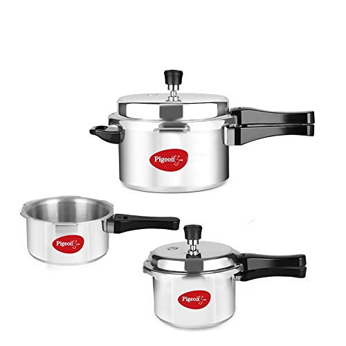 Pigeon by Stovekraft 12685 Induction Base Outer Lid Aluminium Pressure Cooker Combo With Lid, 2L, 3L, 5L, Silver