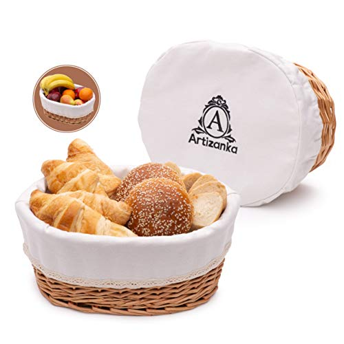 """Large Bread Basket for Serving Set - 12x9"""" Wicker Basket with Removable Liner and Cover Bread Storage and Bread Serving Basket for Homemade Sourdough Bread. Pantry and Fruit Basket by Artizanka"""