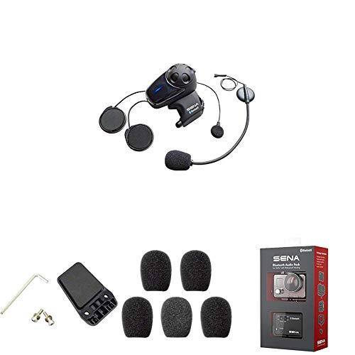 Sena Auricular/Intercomunicador Bluetooth + Kit de Sujeción al Casco + Espumas de Protección para Micrófono + Micrófono Bluetooth Pack para GoPro