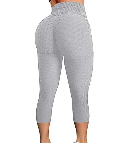 FITTOO Women's High Waist Yoga Pants Tummy Control Scrunched Booty Capri Leggings Workout Running Butt Lift Textured Tights Grey Large