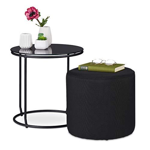 Relaxdays Beistelltisch mit Hocker, runder Couchtisch mit Sitzhocker, platzsparend, Glas & Metall, 40 x 40 cm, schwarz 10032601 1 stück