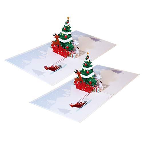 Amosfun 2 Piezas Creativas 3D Tarjetas de felicitación de Navidad Pop-up Tarjeta de Navidad Vacaciones Tarjetas de Navidad Tarjetas de Agradecimiento Hechas a Mano para niños Adultos