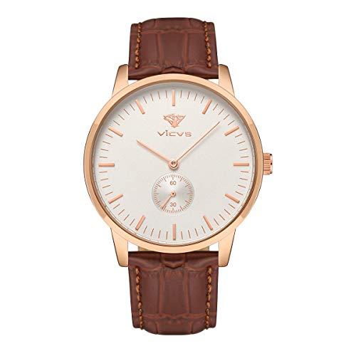 VICVS Reloj de Moda para Hombre/Mujer Reloj de Cuarzo Impermeable Informal Formal (Rose Gold Male)