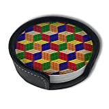 Rubik Cube Drinks Coasters With Holder, Suitable For Kinds Of Cups, Set Of 6