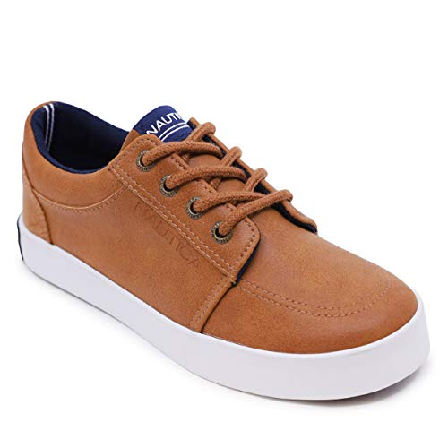Nautica Kids Lace-Up Dress Shoe Athletic Casual Sneaker - Youth Ariz Big Kid Little Kid-Tan Pu-2