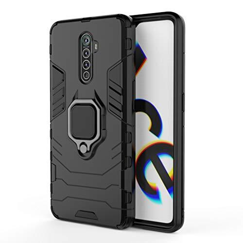 HAOYE Hülle kompatibel für Realme X2 Pro, Handyhülle mit 360 Grad Finger-Halter Kickstand für magnetische KFZ-Halterung, Dual Layer Silica TPU + Harter PC Schutzhülle Cover. Schwarz