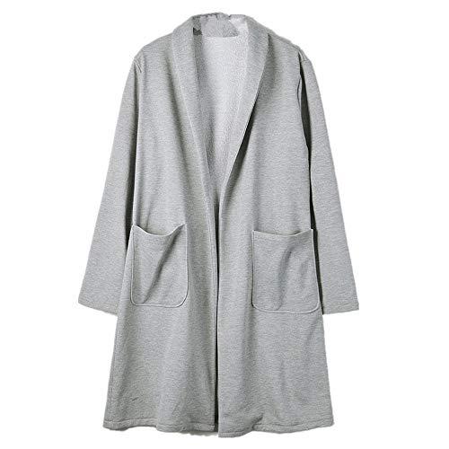 Lazzboy Damen Maxi Offene Strickjacke Cardigan Mantel mit Tasche Wasserfall Asymmetrische Strickmantel Herbst(Grau,34)