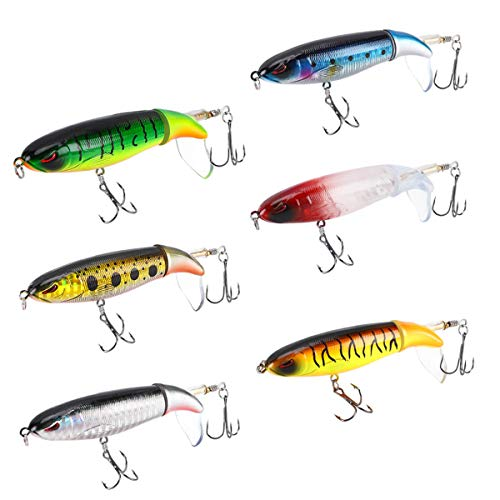 6PCS Whopper Plopper Bass Lures Fishing Lures for Bass, Topwater Bass Lure with Floating Rotating Tail Bait, Bass Fishing with Barb Treble Hooks, 4.05inch/ 0.46oz