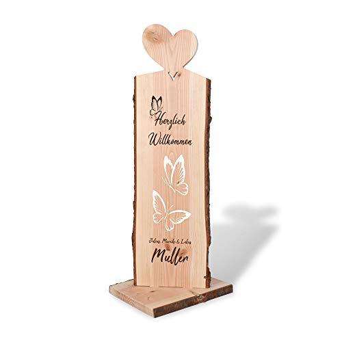 Kreative Feder Willkommen | Holzstele personalisiert mit Ihrem Wunsch-Text | ideale Deko für Haustür oder Garten und Geschenk für Freunde, Familie, zum Geburtstag, zum Einzug.