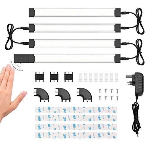H/A Kit de luz de gabinete, iluminación de gabinete, Brillo Ajustable, luz Delgada, luz de mostrador, luz de gabinete, luz de Cocina de gabinete, 20W, 1200LM (Incluidas 4 Luces de gabinete) MENGN