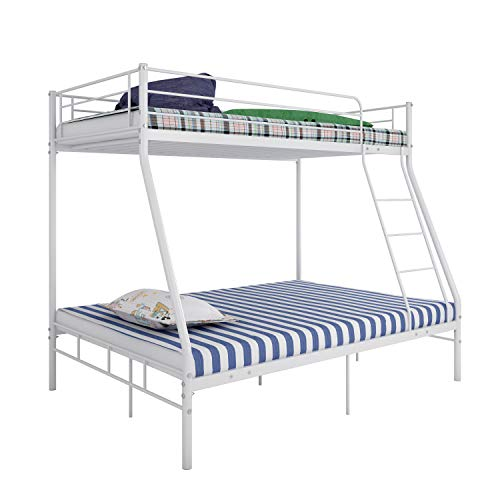Panana Triple Metal Bunk Bed, 3FT Single Top & 4FT6 Double base bed Children's Bedroom Furniture Triple Sleeper Bed Frame Bed Sets - No Mattress Included (White)