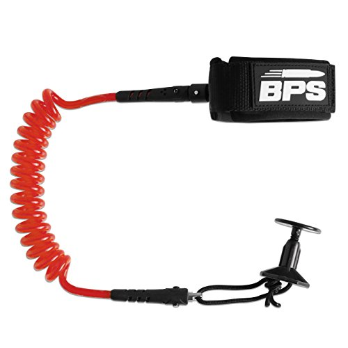 BPS 'PRO' Body Board Coiled Leash with Leash Plug for Bodyboard - with Double Swivels (Red)