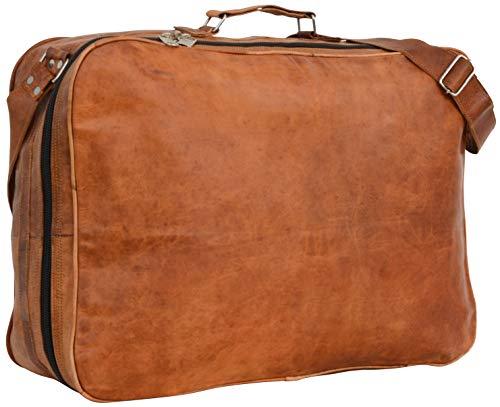 Reisetasche Weekender Bordtasche Braun Leder Vintage mit Reißverschluss