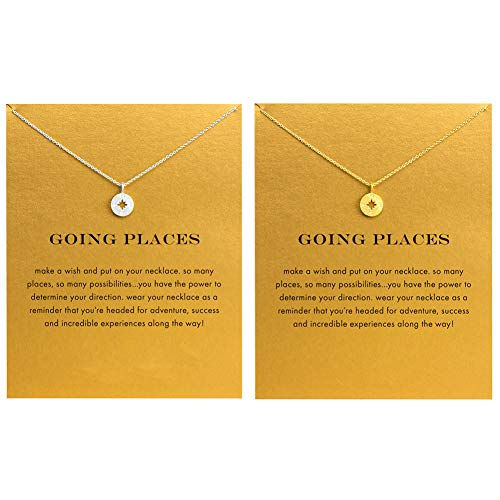 LANG XUAN 2Pcs Friendship Butterfly Necklace Lucky Elephant Star Pearl Circle Pendant Necklace for Women Gift Card (2Pack Compass)