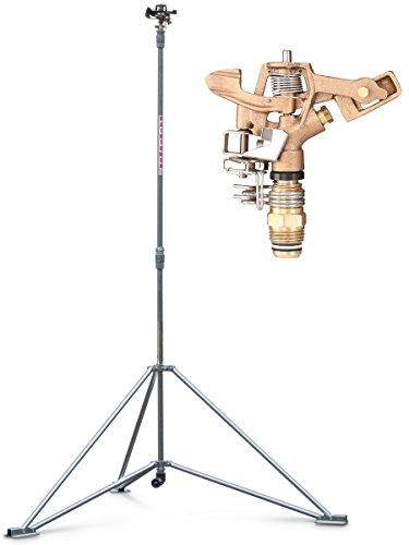 "IrrigationKing RK-1A6 Raintower Sprinkler 6' Tripod Stand, 1/2"" Brass Sprinkler, Part/Full Circle, Adjustable to 41"" or 72"""