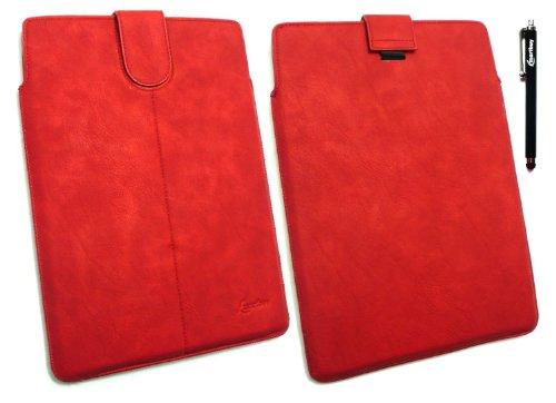 Emartbuy® Stylus Pack - Schwarz Stylus + Rot Pu Leder secured Gleiten In Pouch Case Tashe Hülle Sleeve-Halter Mit Pull Tab Mechanismus Geeignet Für Odys Xeno 10 10.1 Tablet (10-11 Zoll-Tablet)