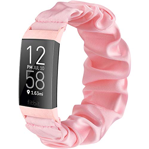 Wanme - Correa para Fitbit Charge 3 / Fitbit Charge 4, correa de tela elástica impresa, correa de tela tejida de repuesto para Fitbit Charge 3/Charge 4 (rosa, S)