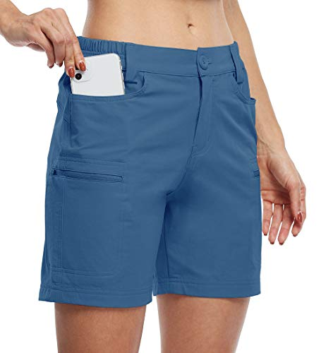 Willit Women's Hiking Cargo Shorts Stretch Golf Active Shorts Water Resistant Outdoor Summer Shorts with Pockets 5' Blue Ashes M