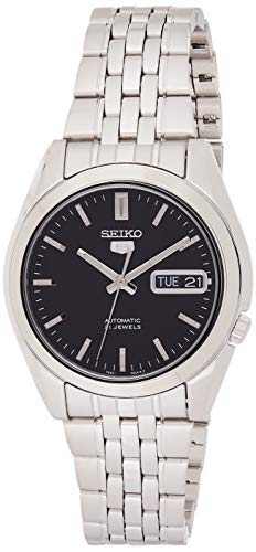 Seiko SNK361K1 5 Herrenuhr Automatik Analog schwarzes Zifferblatt Stahlarmband, Grau