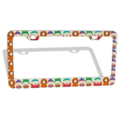 GTGTH South Park Newest Thick Aluminum Alloy Polish Mirror License Plate Frames, Car Licence Plate Holder Covers for US Standard (2 Pcs 2 Holes Wide Silver)