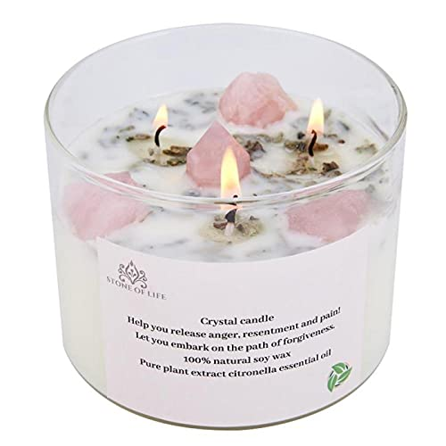 STONE OF LIFE Healing Candle,Crystal Scented Candles,Love Candle,Used for Indoor Outdoor Meditation to Relieve Irritability,Increase Popularity,Enhance Feelings Gifts for Ladies