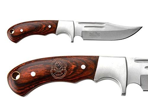 NDZ Performance Full-Tang Fixed Blade Hunting Straight Edge Knife Elk Ridge ER-052 Wood Bolster with Sheath Ek Commando Knives