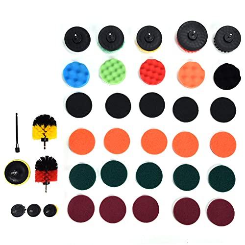 Les-Theresa Juego de accesorios de cepillo de taladro de 37 piezas, almohadillas de fregar y esponja, cepillo de limpieza eléctrico, almohadilla de pulido para limpieza del hogar