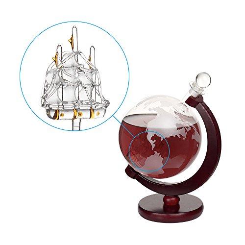 Nandae Whiskey Decanter Set 1000 ml Globus Whiskykaraffe mit Holzbasis - Schiff