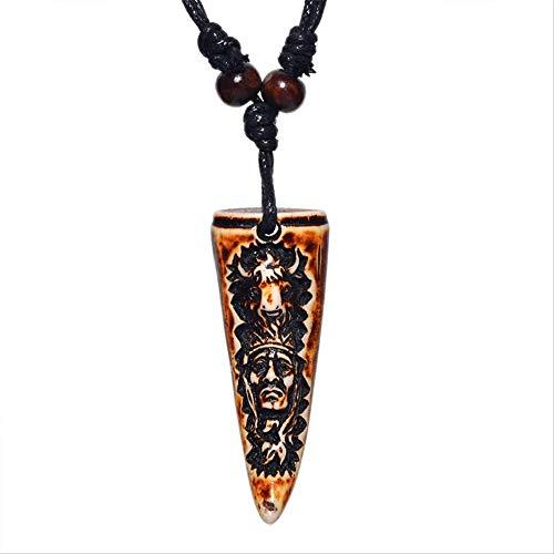 SWAOOS Collar De Tribu India Colgante De Diente Gargantilla De Nativo Americano Joyería Retro Estilo Tribal Imitación De Hueso De Yak Collar Amuleto