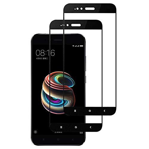 INGEN 2 Piezas Protector de Pantalla para Xiaomi Mi A1, Cobertura Completa, Sin Burbujas, Antihuellas, 9H Dureza, Resistente a Los Arañazos, Cristal Templado para Xiaomi Mi A1 - Negro