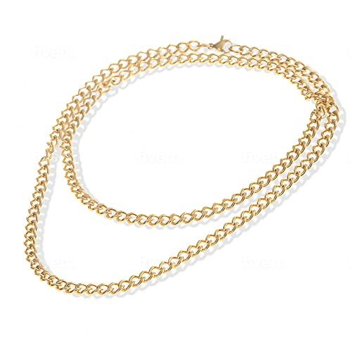 Made by Nami Herren Halskette aus Edelstahl - Massive 60 cm Gold-Kette Glieder-Halskette Glieder-Kette - Handmade Herren-Kette Panzer-Kette - Geschenk für Ihn - Herren-Schmuck Männer Gold 4mm)