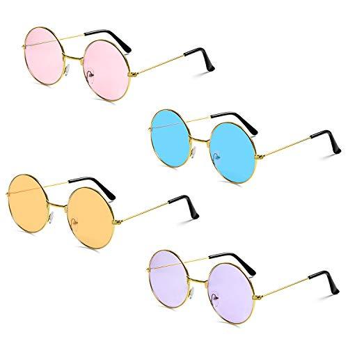Czemo Unisex Runde Sonnenbrille Farbige Retro Brille Hippie Sonnenbrille 60er Jahre John Lennon Brillen für Erwachsene und Kinder, 4 Paare