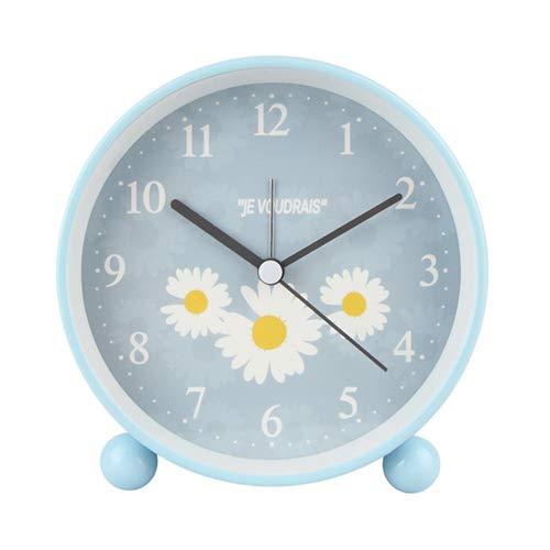 Aobay Moderno Popular Reloj de Alarma Moda Redondo Reloj Reloj Niños Estudiantes Cama Mute Sweeping Noche Lámpara Reloj (Color : Azul)