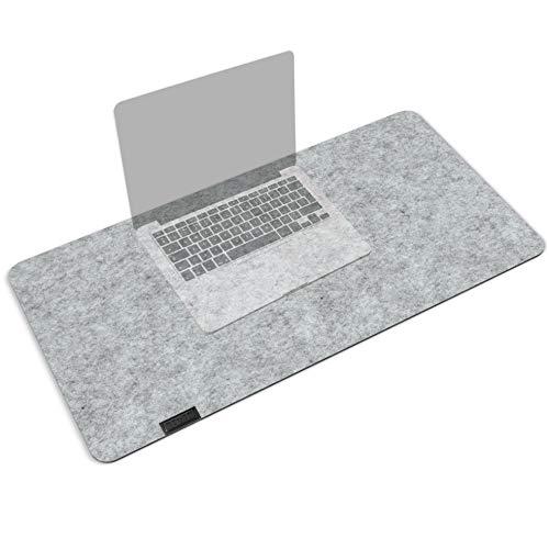 morrom 2 in 1 Schreibtischunterlage und Mousepad aus Filz, antirutschbeschichtet – 80 x 40cm, 4mm dick (Hellgrau)