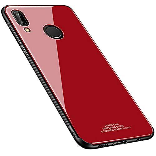 Kepuch Quartz Case Capas TPU &Voltar (Vidro Temperado) para Huawei P20 Lite/Nova 3E - Vermelho