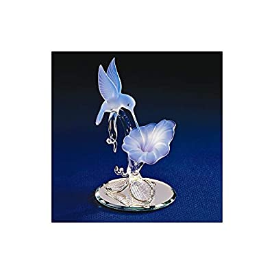 Glass Baron Hummingbird & Blue Flower Glass Figurine