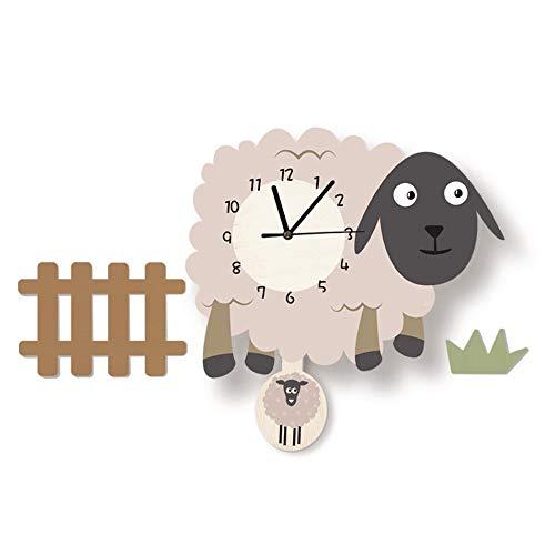 SIBEI Reloj De Pared De Oveja De Dibujos Animados, Reloj De Pared De Oveja Animal Creativo Y Lindo con Péndulo, Habitación para Niños Y Decoración De Jardín De Infancia, Reloj En Silencio En Casa