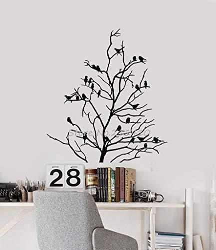 ASFGA Natürliche Landschaft Vinyl minimalistischen Wandtattoo Kunst nackten Baum Vogel Zweig Wohnzimmer Studie Dekoration PVC Kunst Aufkleber Wandbild 84x98cm