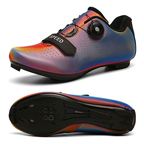 Men's Road Bike Cycling Shoes Peloton Shoe for Men Bicycle Shoes Compatible with SPD and Delta Cleats Colorful red 10