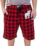 Lazy One Pajama Shorts for Men, Men's Separate Bottoms, Cotton Loungewear, Animal (Moose Plaid, X-Large)
