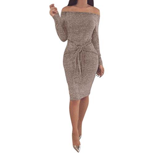 Elecenty Kleid Damen Schulterfrei Minikleid Frauen Lange Ärmel Partykleid Knie Bleistift Kleider Kleidung Sexy Solide Winter Abendkleid (M, Khaki)