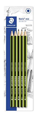 STAEDTLER Bleistift Noris eco, hohe Bruchfestigkeit, rutschfeste Soft-Oberfläche, Wopex-Material, Set mit Härtegraden 2B, B, HB, H, 2H, 18030-SBK5
